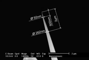 High-aspect-ratio tilt-compensated AR5T AFM tip closeup
